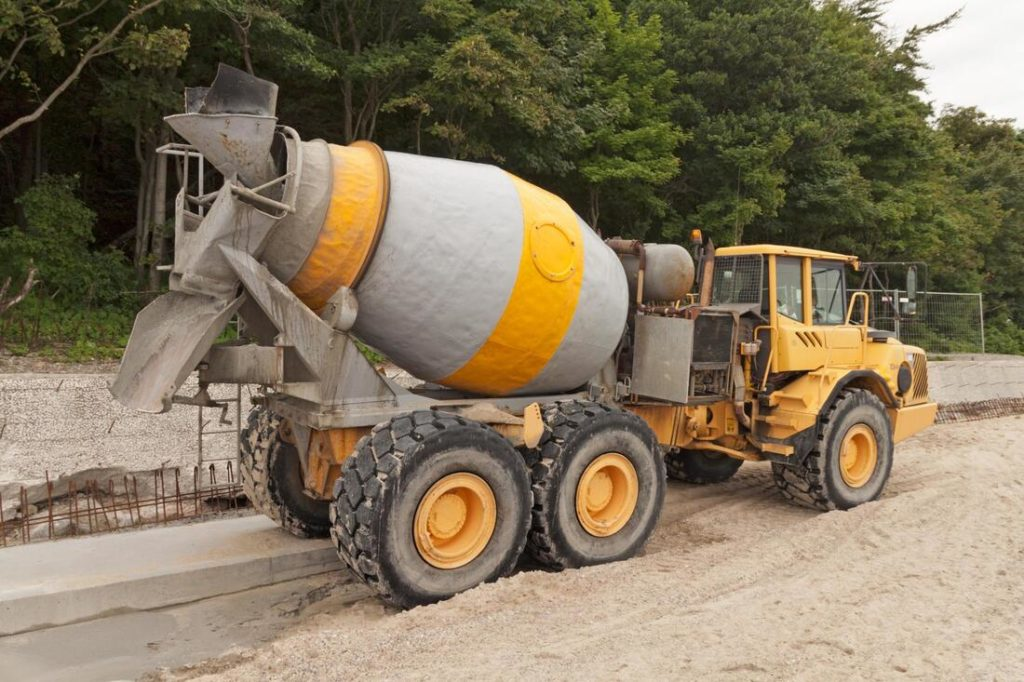 This Is A Picture Of A Concrete Truck Pouring A Small Area Of A Walkway For The Concrete Contractors In Delaware County Pa