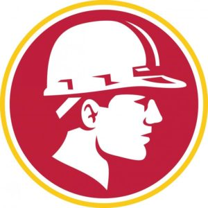 A Drawn Picture Of A Man In A Red Circle Wearing A Hard Hat Logo For Delaware County Concrete Services